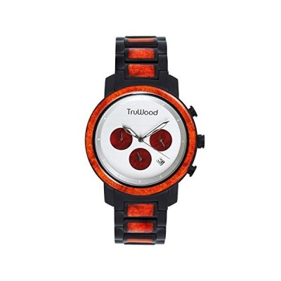 TruWood Magma Chronograph Wooden Watch with Red Burl Wood for Men 並行輸入品