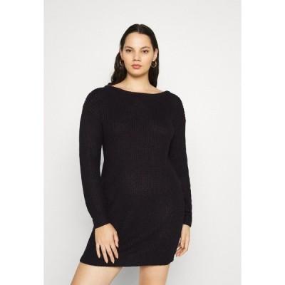 ミスガイデッド ワンピース レディース トップス PLUS OFF SHOULDER JUMPER DRESS - Jumper dress - black