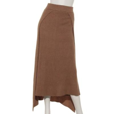 OSMOSIS (オズモーシス) レディース アシンメトリーリブニットスカート BEIGE ONE