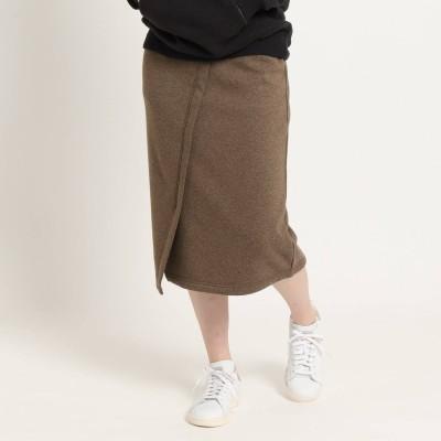 ジェット JET ◆【WEB限定サイズ】【ウォッシャブル】フロントデザインスウェットスカート (WEB限定カラーブラウン)