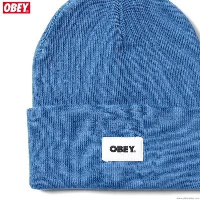 オベイ OBEY BOLD LABEL ORGANIC BEANIE (BLUE SAPPHIRE) メンズ ヘッドギア ニットキャップ ビーニ ブルー