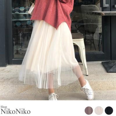 ShopNikoNiko チュールプリーツスカート  ボトムス スカート チュール プリーツ 裏地付き レディース 韓国ファッション ピンク フリー レディース