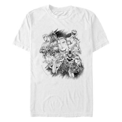 フィフスサン メンズ Tシャツ トップス DC Men's Justice League Group Sketch Short Sleeve T-Shirt