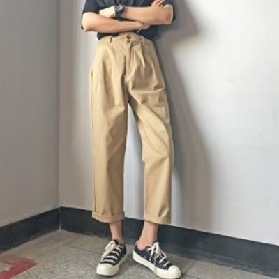 ボトムス パンツ チノパン 9分丈 ハイウエスト シンプル 着回し カジュアル 韓国ファッション 大人可愛い