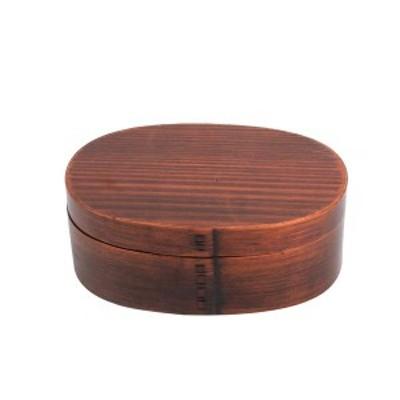 【個数:1個】中茂国際  BDHX033A 木製 一段 小判型 木目 バンド付き 曲げわっぱ弁当箱