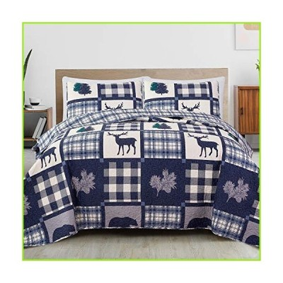 Great Bay Home Lodge Bedspread King Size Quilt with 2 Shams. Cabin 3-Piece Reversible All Season Quilt Set. Rustic Quilt Coverlet Bed Set. S