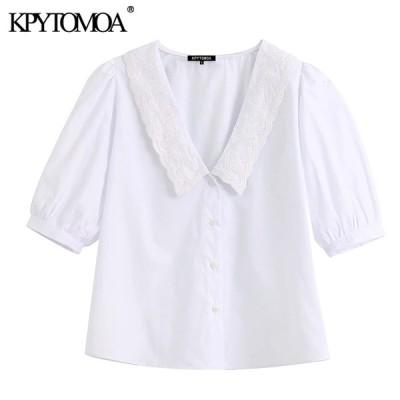 女性 2020 甘いファッション刺繍白ブラウスヴィンテージ V ネックパフスリーブ女性シャツ Blusas トップス