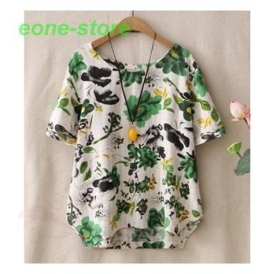 リネンシャツ半袖ブラウスTシャツ二点/森ガール風カジュアルトップス/ナチュラル綿麻ゆったり可愛い花柄プリント/エレガント総柄きれいめ