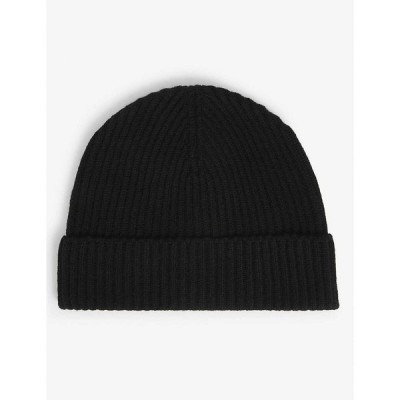 ジョンストンズ JOHNSTONS メンズ ニット ビーニー 帽子 Ribbed cashmere beanie hat BLACK