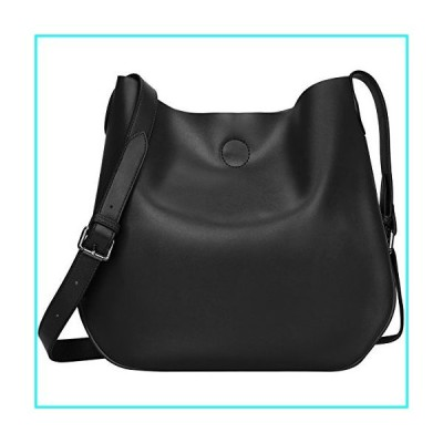 S-ZONE Women Leather Crossbody Bag Simple Shoulder Bag Drew Purse for Girl Ladies (Black)