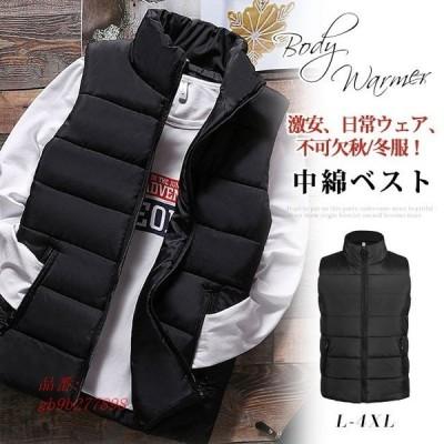 中綿ベスト メンズ アウター 軽量 秋 ファッション 冬通勤 カジュアル 通学 アメカジ