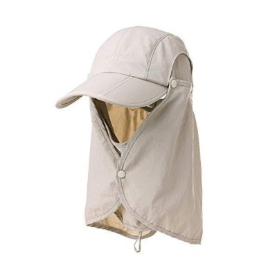 Fancet ユニセックス SPF 速乾 ランニング 野球帽 大きなひさし サンハット 55-61cm M ベージュ