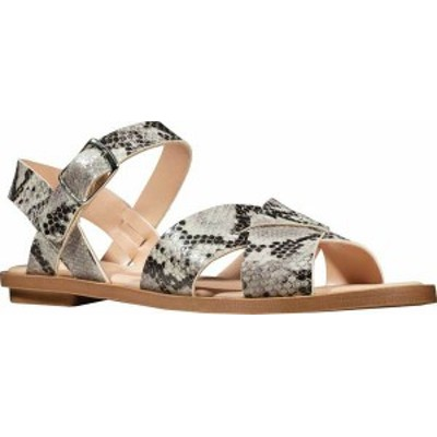 クラークス レディース サンダル シューズ Willow Gild Quarter Strap Flat Sandal Grey Snake Full Grain Leather