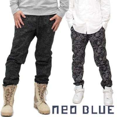 NEO BLUE JEANS ネオブルージーンズ ジョガーパンツ ストレッチ入 ペイズリー バンダナ柄 メンズ アメカジ ストレッチ 細身 スリム タイト パンツ