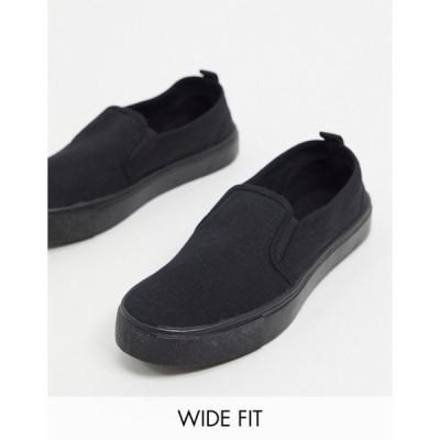 エイソス レディース スニーカー シューズ ASOS DESIGN Wide Fit Dotty slip on plimsolls in black