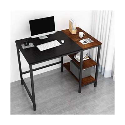 JOISCOPE Home Office Computer Desk,Small Study Writing Desk with Wooden Storage Shelf,2-Tier Industrial Morden Laptop Table with Splice Boar