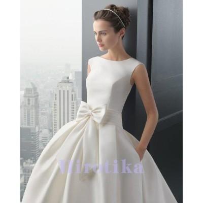 ウエディングドレス 安い 花嫁 二次会 ウェディングドレス 結婚式 披露宴 ブライダル ロングドレス エンパイア シンプルドレス 白 サテン パーティードレス