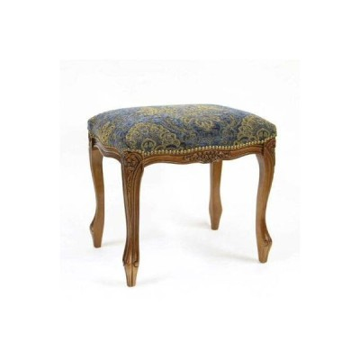 エレガントなデザインのイタリア製スツール(ブルー) ヨーロピアン 布張り 彫刻 イタリア家具 補助椅子 玄関 ドレッサー椅子 お洒落 インテリア 豪華 便利