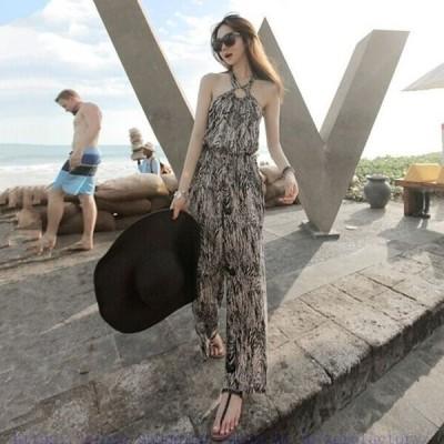 ボヘミア風レディース連体服ロングパンツノースリーブオールインワンサロペットリゾートビーチ海夏新作ハワイアン遊びに旅行