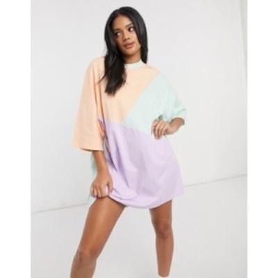 エイソス レディース ワンピース トップス ASOS DESIGN oversized t-shirt dress with cut about pastel color block Lilac and mint