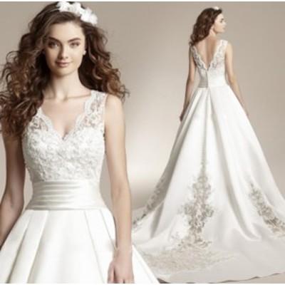 結婚式ワンピース お嫁さん 豪華な ウェディングドレス 花嫁 ドレス エンパイア Vネック ビスチェタイプ 姫系ドレス 白ドレス