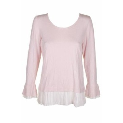 Misty  ファッション トップス Charter Club Misty Pink Ivory Pleated Trim Layered-Look Ribbed Knit Sweater M