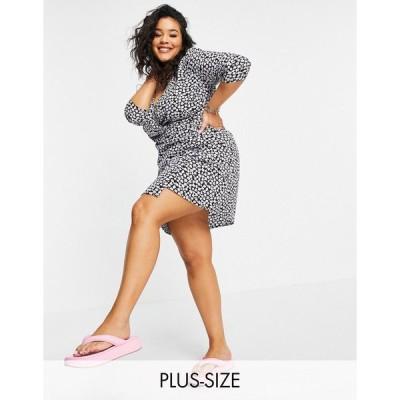 ウェンズデーガール ドレス 大きいサイズ レディース Wednesday's Girl Curve mini wrap dress in ditsy floral print エイソス ASOS ブラック 黒