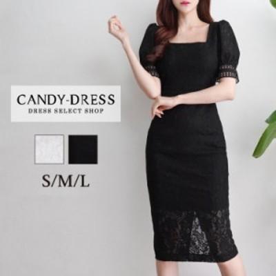 S/M/L 送料無料 Luxury Dress 総レース×ハイウエスト切り替えスクエアネック半袖タイトミディドレス PE200802 韓国 ブランド 韓国ドレス