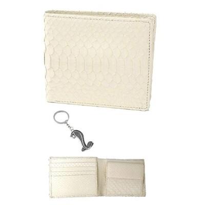 白蛇 金運 アップ 二つ折り財布 高級 錦蛇 表裏 無双 札入 本革 パイソン レザー 日本製 (コブラSilver)