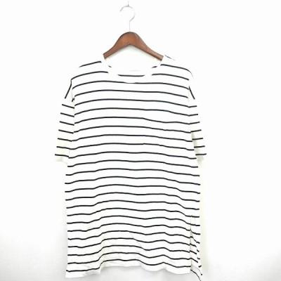 【中古】ジーユー GU Tシャツ カットソー ボーダー 丸首 半袖 コットン 綿 L ブラック アイボリー 黒 /MT18 メンズ 【ベクトル 古着】