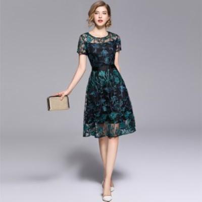 結婚式 お呼ばれドレス 花柄刺繍 レース 韓国 パーティードレス レディース 大きいサイズ ひざ丈 ミディ丈 半袖 シースルー