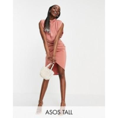 エイソス レディース ワンピース トップス ASOS DESIGN Tall cowl neck midi dress with twist skirt in pink Pink