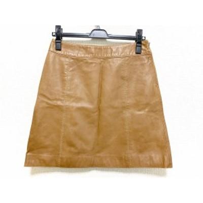 トゥモローランド TOMORROWLAND スカート サイズ38 M レディース 美品 ブラウン レザー【中古】20200804