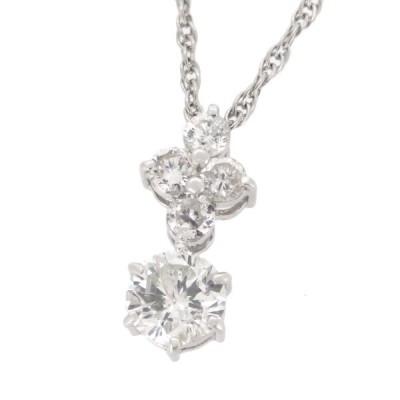 ダイヤモンド ネックレス 1ct センターおよそ0.6ct ダイヤ プラチナ Pt900 Pt850 シンプル ラウンドブリリアントカット レディース 【ジュエリー】