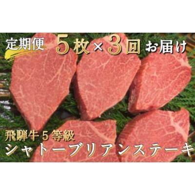 飛騨牛 5等級のシャトーブリアンステーキ 3回お届け 飛騨市推奨特産品 古里精肉店謹製 [O0001]