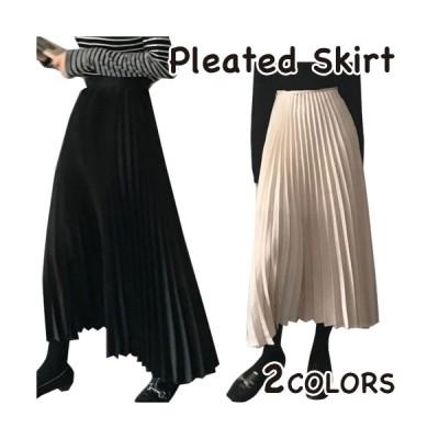スカート ロング丈 プリーツスカート シンプル 秋 レディース きれいめ  かわいい シャンパン ブラック