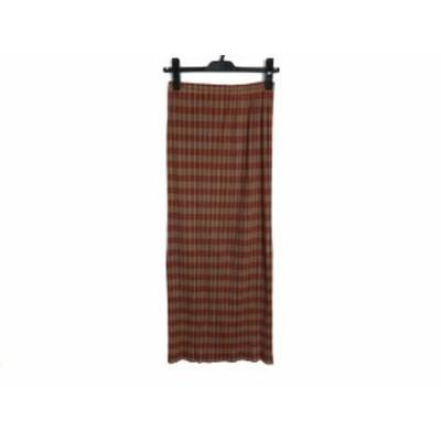 プリーツプリーズ PLEATS PLEASE ロングスカート サイズ3 L レディース - カーキ×ブラウン プリーツ/ウエストゴム【中古】20210111