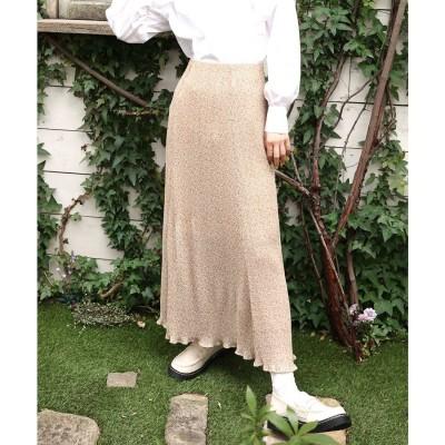 レトロガール RETRO GIRL 柄プリーツスカート (ガラ(ホワイト))