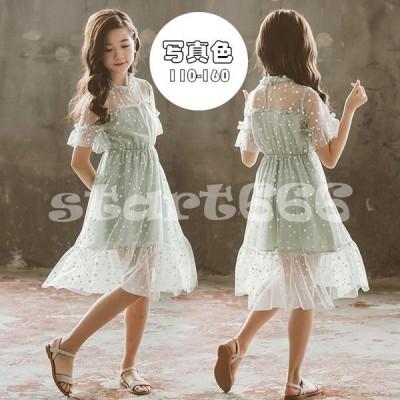 子供服 ワンピース キッズ 女の子 夏 膝丈 半袖 水玉柄 ワンピース 子供ドレス おしゃれ 韓国子ども服 ジュニア 女児 カジュアル 人気可愛い 普段着 通学着