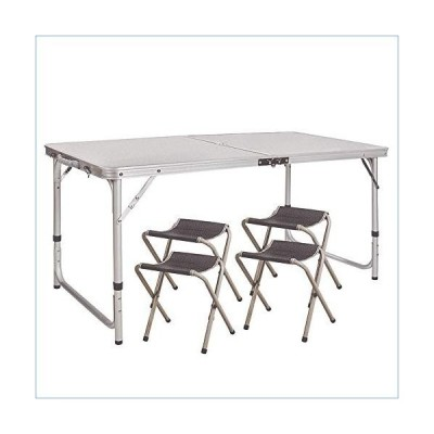 Sports Life Outdoor Folding Table and Chair, Portable 5-Piece Set, Height Adjustable Multifunctional Aluminum Alloy Table and Chair with Handle, for H