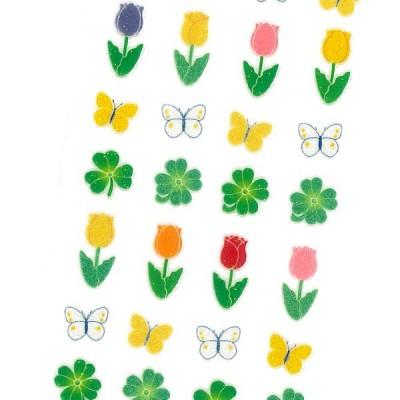 Sticker Fun ラメ入りシール チューリップ / クローバー お花 蝶 デコ 軟らかい 厚盛りインク キラキラ 奥山商会
