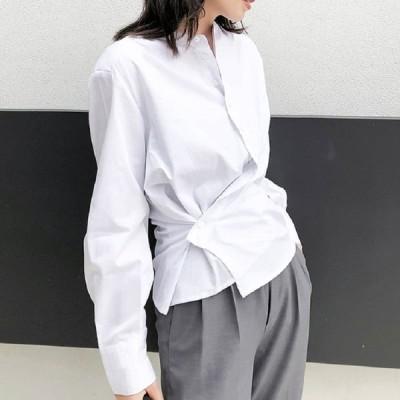 シャツ トップス 長袖 デザイン 不規則 クラシック ブラウス 6946