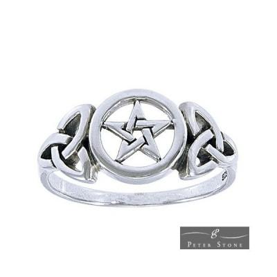 PETER STONE 五芒星(ペンタグラム) セルティックノット スターリングシルバー リング(指輪)|ペンタクル|ケルト模様|陰陽道