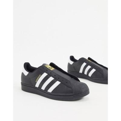 アディダス メンズ スニーカー シューズ adidas Originals laceless Superstar sneakers in black