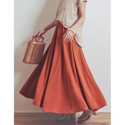 スカート [yuricookieさん着用][涼感][低身長向けSサイズ対応]リネンブレンドマキシ丈スイングスカート