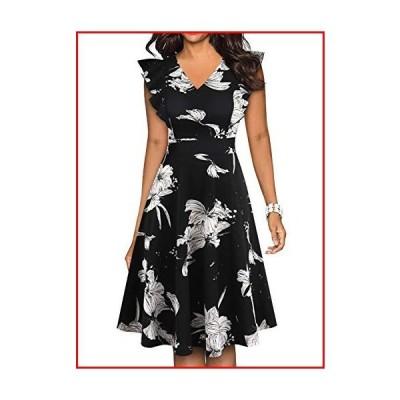【新品】BOKALY Women's Vintage Ruffles Dot Floral Flared Swing A-Line Casual Party Cocktail Dresses (S, BK521-Black Floral 01)【並行