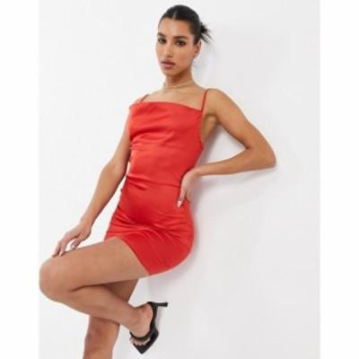パリジャン Parisian レディース ワンピース キャミワンピ ワンピース・ドレス Satin Cami Strap Mini Dress With Cowl Neck In Red レッ
