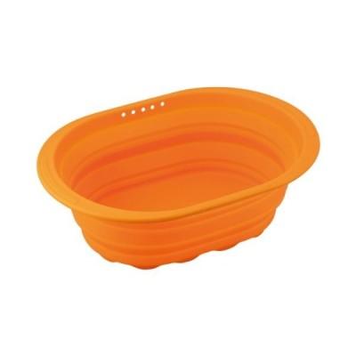 和平フレイズ キッチン水廻り用品 洗い桶 スキッとシリコーン。 小判型 オレンジ 折りたたみ式 SR-4883