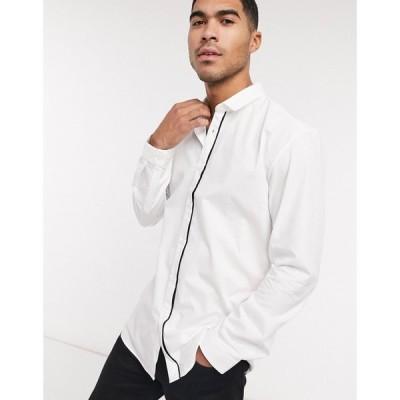 ヒューゴ ボス BOSS メンズ シャツ トップス Hugo Emilionn Extra Slim Fit Cotton Shirt With Placket Stripe In White ホワイト