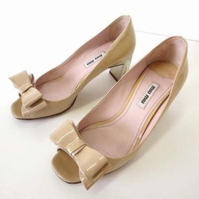【中古】ミュウミュウ miumiu パンプス エナメル オープントゥ 36 ベージュ 薄橙色 23.0cm くつ 靴 シューズ